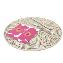 Large round white rattan placemat