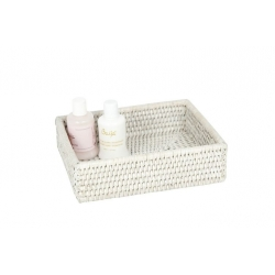 Small rectangular white rattan basket
