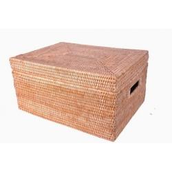 Boîte de rangement dressing rotin birman rectangulaire  avec couvercle