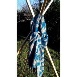 Echarpe Bleu laine en poil de Yack