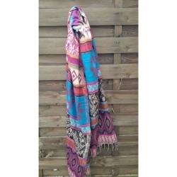 Echarpe Bleue et rose laine en poil de Yack