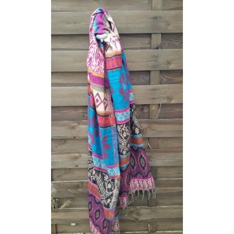 Echarpe Bleu et rose laine en poil de Yack