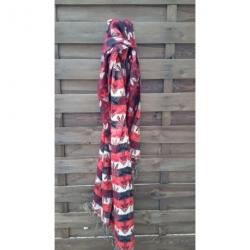 Echarpe Rouge et Noir laine de yack