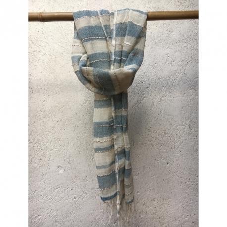 Echarpe Coton Bio Organique  - Beige et Rayures bleus