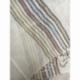 Echarpe Coton Bio Organique  - Beige et Rayures multicolors