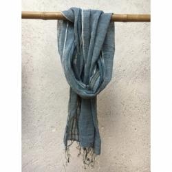 Echarpe Coton Bio Organique  - Bleu