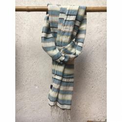 Echarpe Coton Bio Organique  - Beige & Bleu