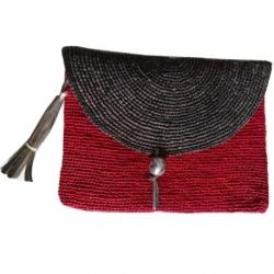 Pochette Rouge Raphia avec rabat et ponpon