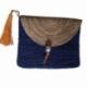 Pochette Bleu Raphia avec rabat et ponpon