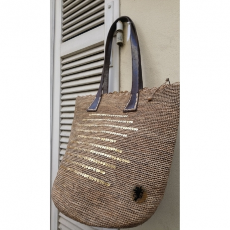 Tote bag Raphia Naturel avec paillette