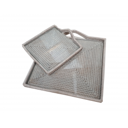 Square trays with glass (2)
