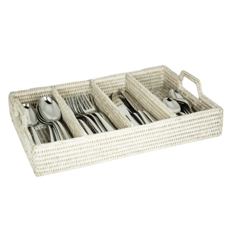 Rattan cutlery tray with handles