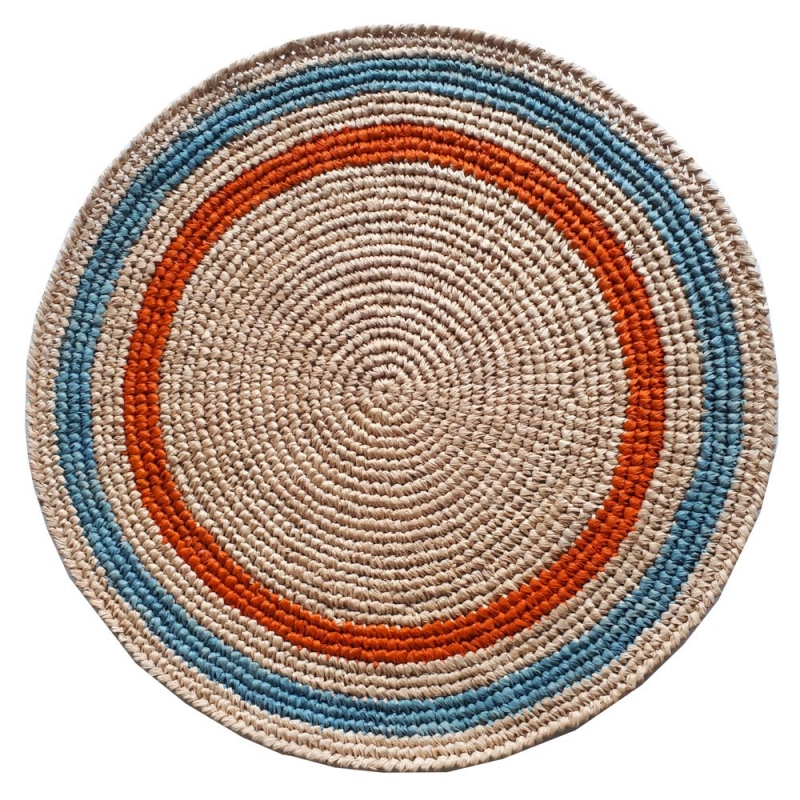 set de table raphia crochet fait main orange et bleu
