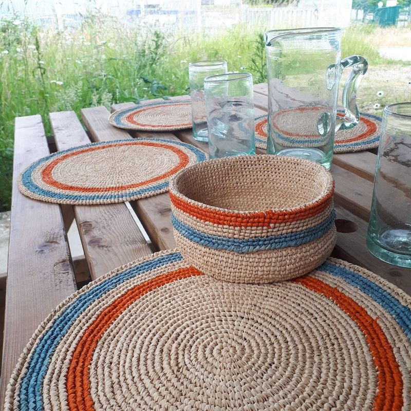 set de table raphia crochet fait main baolgichic