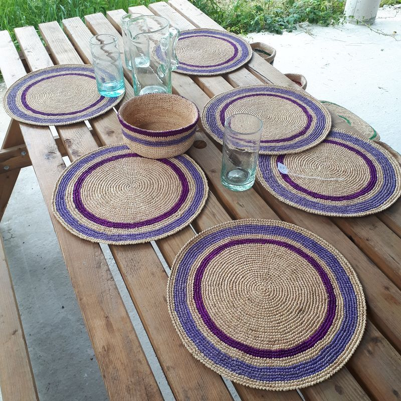 set de table raphia crochet fait main vert baolgichic