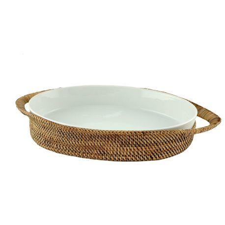 Grand plat ovale en rotin et porcelaine