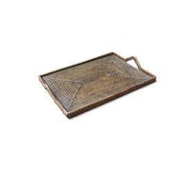 Rectangular rattan cheese tray