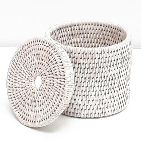 Boîte cylindrique + couvercle S blanc