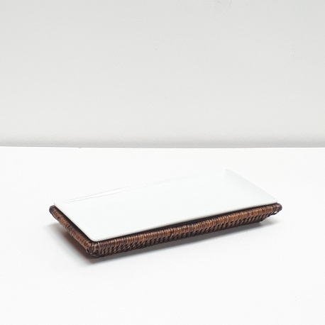 Brown rectangular tray S