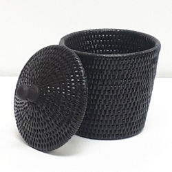 Black Cylindrical box S with cover