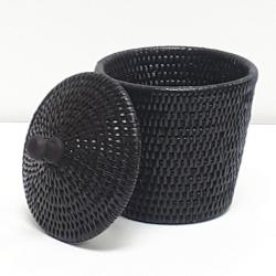 Boîte cylindrique évasée + couvercle S noir