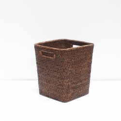 Brown square waste basket S