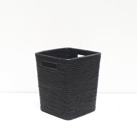 Corbeille à papier carrée évasée S noir