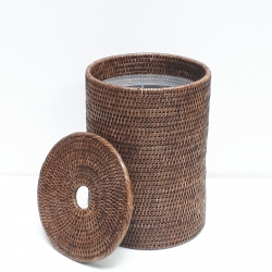 Brown cylindrical waste basket with plastic insert M