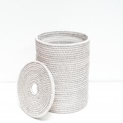 Poubelle cylindrique + insert en plastique et couvercle M blanc