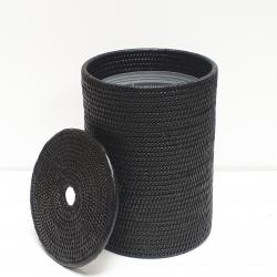Poubelle cylindrique + insert en plastique et couvercle M noir