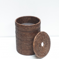 Brown cylindrical waste basket with plastic insert and cover S