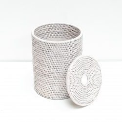 Poubelle cylindrique + insert en plastique et couvercle S blanc