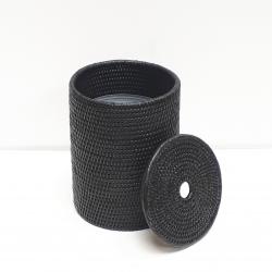 Poubelle cylindrique + insert en plastique et couvercle S noir