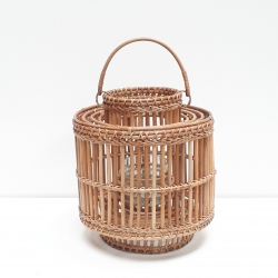 Brown cylindrical lantern with central handle M