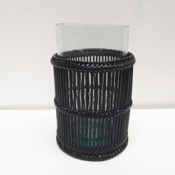 Black cylindrical lantern with central handle M