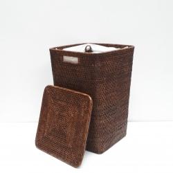 Panier à linge carré évasé + sac en coton et couvercle L marron