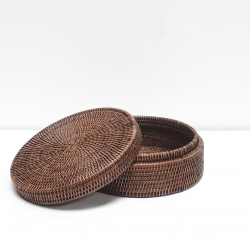 Brown cylindrical low box with cover M