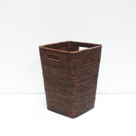 Corbeille à papier carrée évasée M marron
