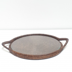 Brown round tray with glass dish M