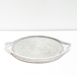 White round tray with glass dish M