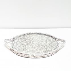 White round tray with glass dish M