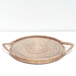 Natural round tray with glass dish M