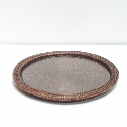 Black round tray with glass dish M