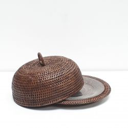 Brown flared cheese cover with central handle M