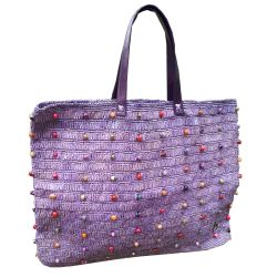 Sac Raphia billes en zebu colorees