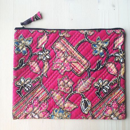 Grande pochette flower power rouge passion