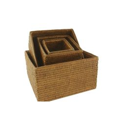 Set of 4 square white rattan baskets