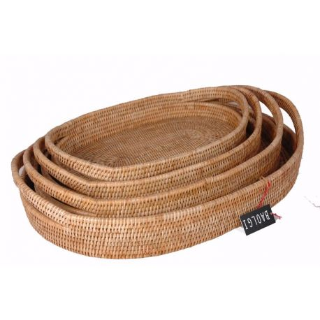 Set of 4 oval rattan trays