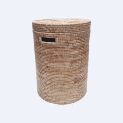 Brown round laundry basket with cover L