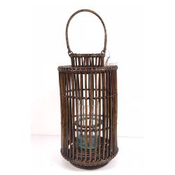 Natural cylindrical lantern with central handle M